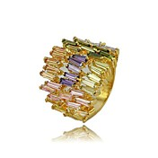 18K Gold Plated & Lux Colorful Cubic Zirconia Ladie's Fashion Ring
