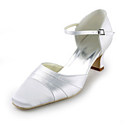 Satin Chunky Heel Square Toe With Ruffles Wedding Shoes (More Colors)