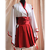 miko manga larga corta kimono rojo uniforme wa lolita vestido (cintura: 80cm)