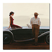Printed People Car Canvas Art with Stretched Frame