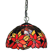 60W 1 - Light Tiffany Pendant Light with Glass Shade Red Flowers Pattern