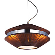 Comtemporary Brown Pendant Lights with 3 Lights in Round Fabric Shade