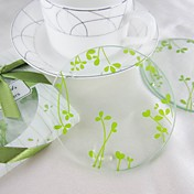 Leaves Design Round Coasters (Set Of 2)
