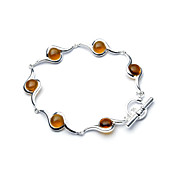 Elegant Fashion Jewelry Six Small Imitation Gem Stone Silver Plate Bracelet