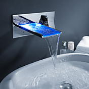 Sprinkle - kleur veranderende led waterval badkamer wastafel kraan (wall mount)
