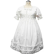 Puff Sleeve Knee-lengde Pure White Cotton Country Lolita Dress