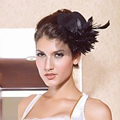 Bella raso nero con Fascinators donna fiore