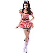 Cute and Sexy Red Polka Dots Spandex Women's Dress Mouse Costume(3 Pieces)