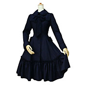 Met lange mouwen Zwart Katoenen Retro Hof Style Classic Lolita Coat