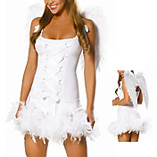Ladies White Angel Fancy Dress Halloween Costume & Wings (2Pieces)