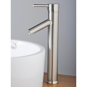 Contemporary Single Handle Nickel Brushed Bathroom Sink Faucet