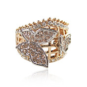 Charming Rose Gold Plated Butterfly Design Crystal Ring