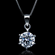 Fine Jewelry Simply 1 Carat Zircon Sterling Silver Necklace
