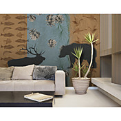 Botanical Floral Nature and Animal Mural
