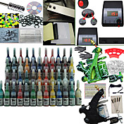 2 pistolen tattoo kit met dual output power lcd en 54 kleuren inkt