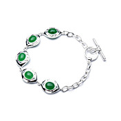 Elegant Fashion Jewelry Five Imitation Gem Stone Charm Silver Plate Bracelet