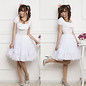 Innocent Girl Short Sleeve Knee-length Pure White Princess Lolita Dress