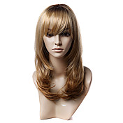 Capless Long Golden Blonde Wavy syntetiske parykker
