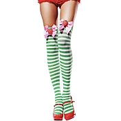 Fancy Bow Striped Green and White Christmas Stockings(1 Pieces)