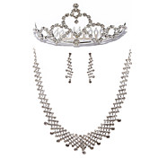Elegant Rhinestone Bridal Necklace, Earring And Tiara Set