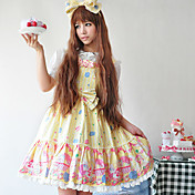 Sleeveless Knee-length Cotton Cake Printing  Doll's Lolita Dress