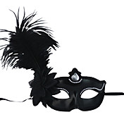 Black Feather And Flower Costumes Half-face Mask