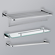 Chrome Finish Bathroom Towel Rack Set With Glass Shelf