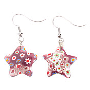 Pentagram Flower Pattern Coloured Glaze Earrings