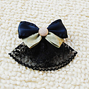 Handmade Black and Blue and Green Satin and Lace Bow Aristocrat Lolita Headdress