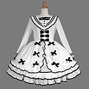 Langærmet Knælang White Cotton Aristocrat Lolita Dress
