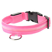 Adjustable High Quality Nylon LED Collar for Dogs (Pink)