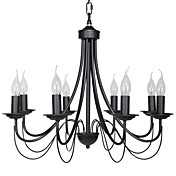 60W E14 8-light Black Iron Chandelier in Candle Feature