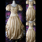 Short Sleeve Floor-length Beige Satin Classic Lolita Dress