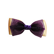 Handmade Purple and Beige Satin and Organza 9.5cm Bow Classic Lolita Headdress