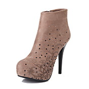 Suede stiletto taln tobillo botas con diamantes de imitacin fiesta / noche zapatos (ms colores)