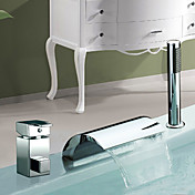 Chrome Finish Waterfall Widespread Two Handles Contemporary Tub Faucet With Handshower