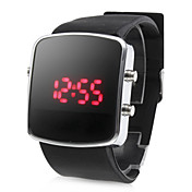 Silicone Band Modern Unisex Jelly Sport Style LED Wrist Watch - Black
