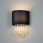 60W E14 Iron Wall Light with Fabric Shade and Crystal Chains