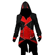 cosplay costume inspiré par l'assassin creed iii connor rouge et veste noire