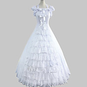 Short Sleeve Floor-length White Cotton Princess Lolita Dress