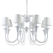 60W E14 8-light Iron Chandelier with White Fabric Shades