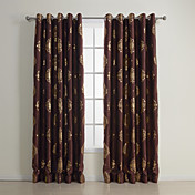 (Two Panels) Traditional Golden Print Blackout Curtains