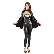 Sexy Black Faux Leather Bat Warrior Costume(3 Pieces)