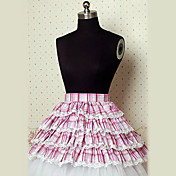 Knee-length Fuschia and White Checked Pattern Cotton Cake Style Sweet Lolita Skirt