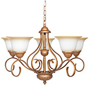 60W E14 5-light Palace Style Chandelier with Glass Shades