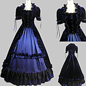 Short Sleeve Floor-length Ink Blue Satin Velvet Aristocrat Lolita Dress