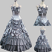 Sleeveless Floor-length Gray Satin Princess Lolita Dress