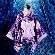 Gorgeous Short Purple Sakura Pattern Satin Deluxe Wa Lolita Kimono Dress