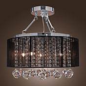 Modern Crystal Flush Mount with 5 Lights Black Fabric Shade