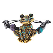 Fully-jewelled Frog Shape Weave Bracelet